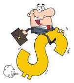 Successful Businessman Riding On A Dollar Symbol — Stock Photo