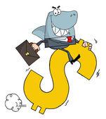 Business Shark Businessman Riding On A Dollar Symbol — Stock Photo