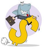 Business Shark Businessman Riding On A Dollar Symbol — Stock Photo