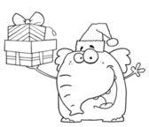 Outlined Happy Christmas Elephant Holds Up Gifts — Stock Photo