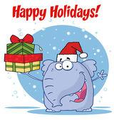 Happy christmas elefant hält geschenke — Stockfoto