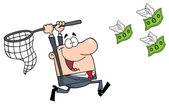 Happy Businessman Chasing Money — Stock Photo