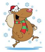 Happy Santa Bear Runs With Bag In The Snow — Stock Photo