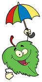 Folha verde com guarda-chuva — Fotografia Stock