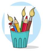 Pote del artista con lápices y pinceles — Foto de Stock