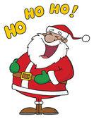 Black Santa Laughing With Ho Ho Ho Text — Stock Photo