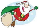 Santa Claus Fly — Stock Photo