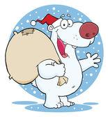 クリスマス サンタ シロクマ — ストック写真
