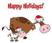 Frohe Festtage über Weihnachten Kühe Gruß — Stockfoto