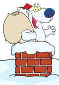 Polar Bear In A Chimney — Stock Photo