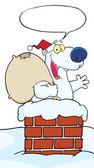 Noel noel baba kutup ayısı bacadaki — Stok fotoğraf