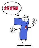 Carácter número siete siete diciendo — Foto de Stock