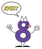 Number Eight Character Saying Eight — Stock Photo