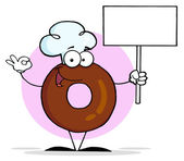 Friendly Donut Cartoon Character Holding A Blank Sign — Stock Photo