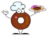 Friendly Donut Chef Cartoon Character Holding A Donuts — Stock Photo