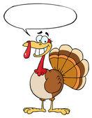 Turkey Mascot Cartoon Character With Speech Bubble — Stockfoto
