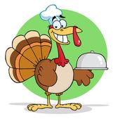 Cocinero de dibujos animados de turquía sirviendo un plato — Foto de Stock