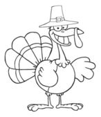 Outlined Turkey Cartoon Character With Pilgrim Hat — Stock Photo