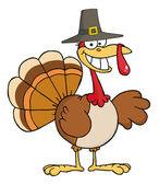 Happy Turkey Cartoon Character With Pilgrim Hat — Stock Photo