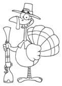 概述的土耳其与朝圣者的帽子和滑膛枪 — 图库照片