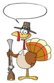 Hunting Thanksgiving Pilgrim Turkey Bird With A Musket — Stock Photo