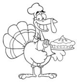 Outlined Happy Turkey Chef With Pumpkin Pie — Stock Photo