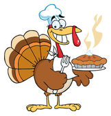 Happy Turkey Chef With Pumpkin Pie — Stock Photo