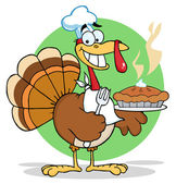 Happy Thanksgiving Turkey Bird Holding A Pie — Stock Photo