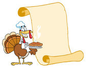 Happy Turkey Chef With Pie And Scroll — Stock Photo
