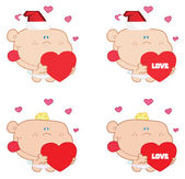 Digital Collage Of Cupids Holding Hearts — Stock Photo