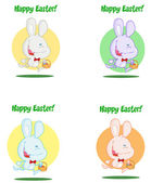 Happy Easter Greeting Over An Exited Running Bunny Collection — Stock Photo