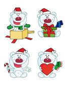 Digitala collage av jul isbjörnar — Stockfoto