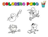 Halloween Character Coloring Page Outlines — Stock Photo