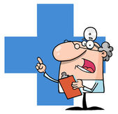 Doctor Speaking Over A Blue Cross — Stock Photo