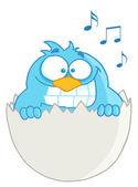 Blå fågel i ägg tal — Stockfoto
