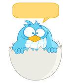 Blauwe zangvogels ei met tekstballon — Stockfoto