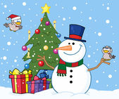 Christmas Snowman By A Tree — Stock Photo