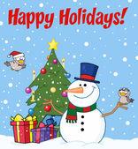 与一个雪人和可爱的鸟类的问候节日快乐 — 图库照片