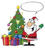 Happy Santa With A Word Balloon — Stock Photo