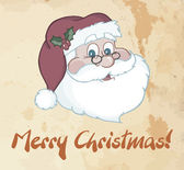 Merry Christmas Greeting With Classic Santa Head — Stock Photo