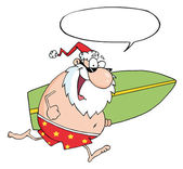 Happy Santa Running With A Surfboard — Stock Photo