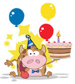 Birthday Calf Cartoon Character — Stock Photo