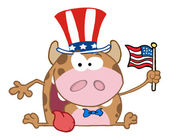 Patriotic Calf Cartoon Character — 图库照片