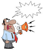 Hispanic Business Man Yelling Through A Megaphone With A Word Balloon — Stock Photo
