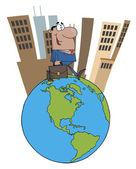 Hispanic Businessman Tall City On Top Of A Globe — Stock Photo