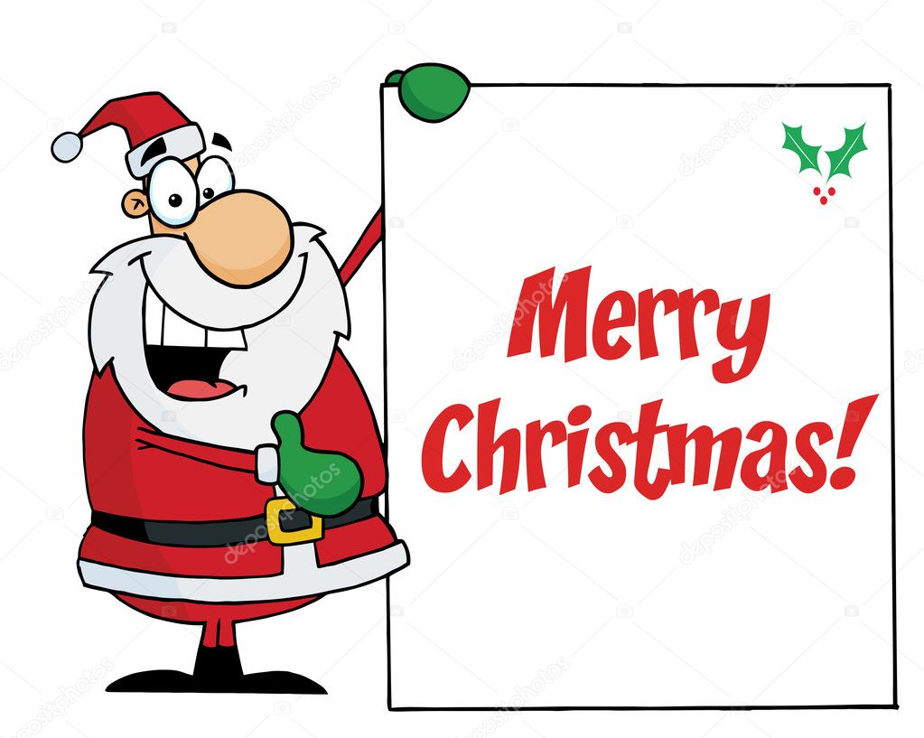 Merry christmas greeting with santa holding a sign stock photo