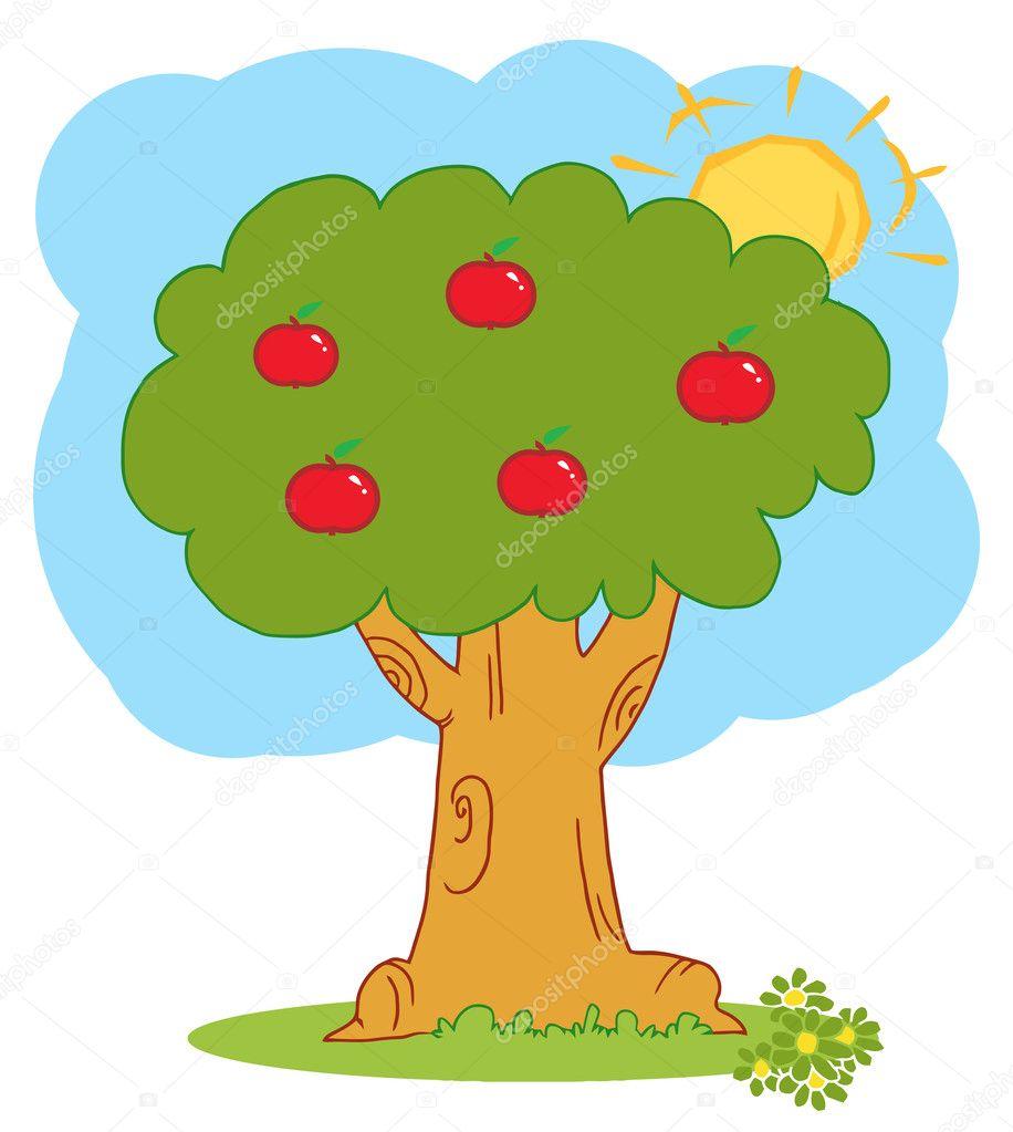 合并在一棵苹果树后面的太阳