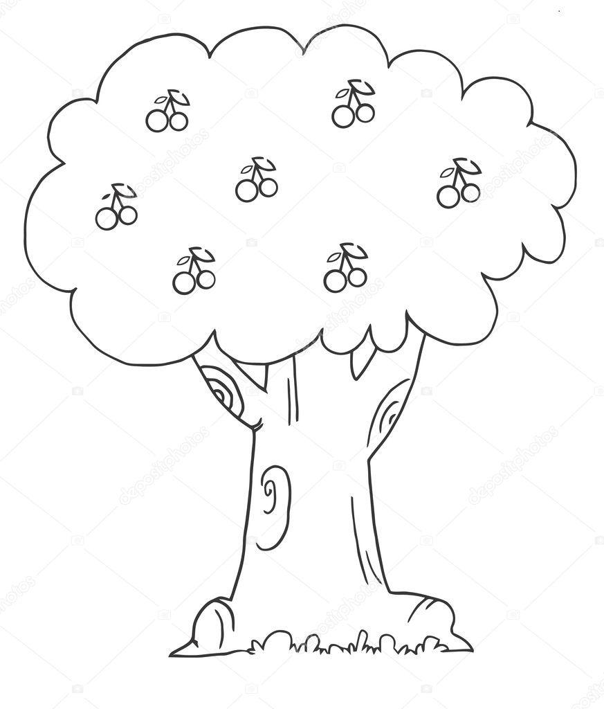 Outline tree for Disegni da colorare ciliegie