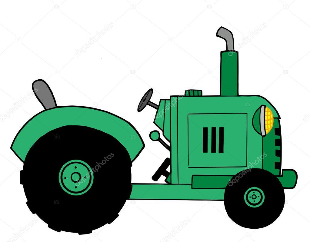 Green Tractor Clip Art : Cartoon tractor
