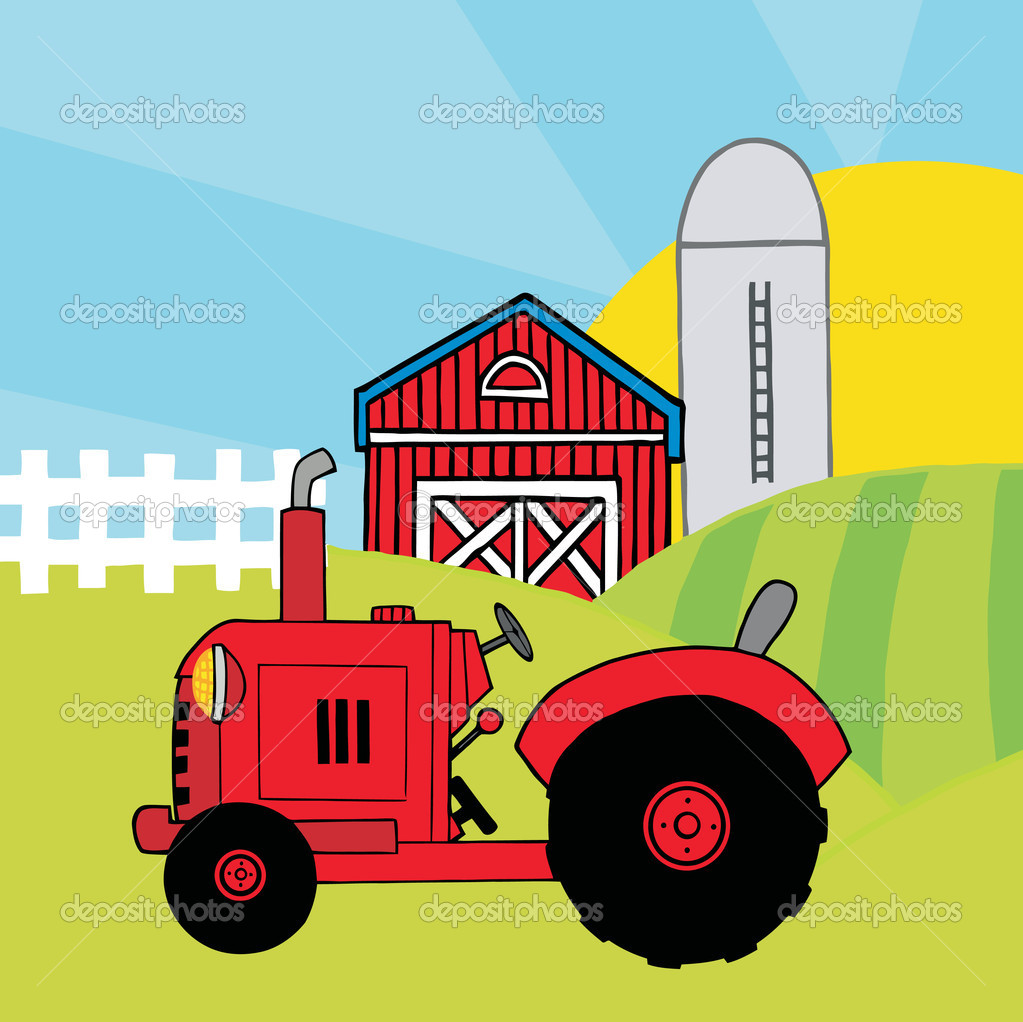 Vintage Tractor Cartoon : Vintage red tractor in front of country farm — stock photo